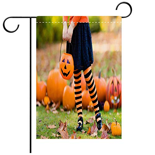 BEICICI Custom Personalized Garden Flag Outdoor Flag Little Girl in Witch Costume on Halloween Trick or Treat Best for Party Yard and Home Outdoor Decor -