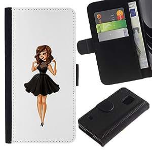 KLONGSHOP / Tirón de la caja Cartera de cuero con ranuras para tarjetas - Lady Sweet Cute Woman - Samsung Galaxy S5 V SM-G900