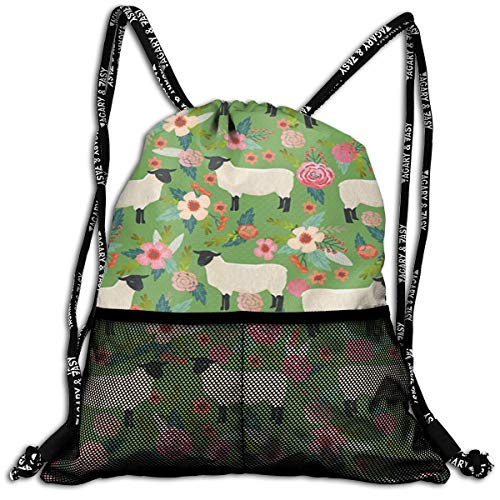 Traveling Swim Travel Beam Bag Suffolk Sheep Farm Animal Floral Beam Backpack Basketball, Volleyball, Baseball Rucksack For Boys Teens Youth Sports & Workout Gear