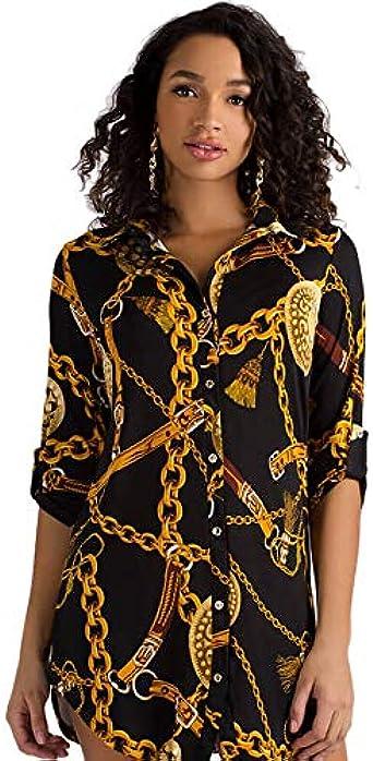 TOOGOO Blusa De Manga Media Con Estampado De Cadenas Para Mujer Vestido Camisa De Verano Con Botones Y Cordones De Solapa Tops Casuales Vestido Corto Negro Xl: Amazon.es: Ropa y accesorios