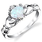 Metal Masters Co.® Stelring Silver 925 Irish Claddagh Friendship & Love Ring with Light Blue Created Opal Heart