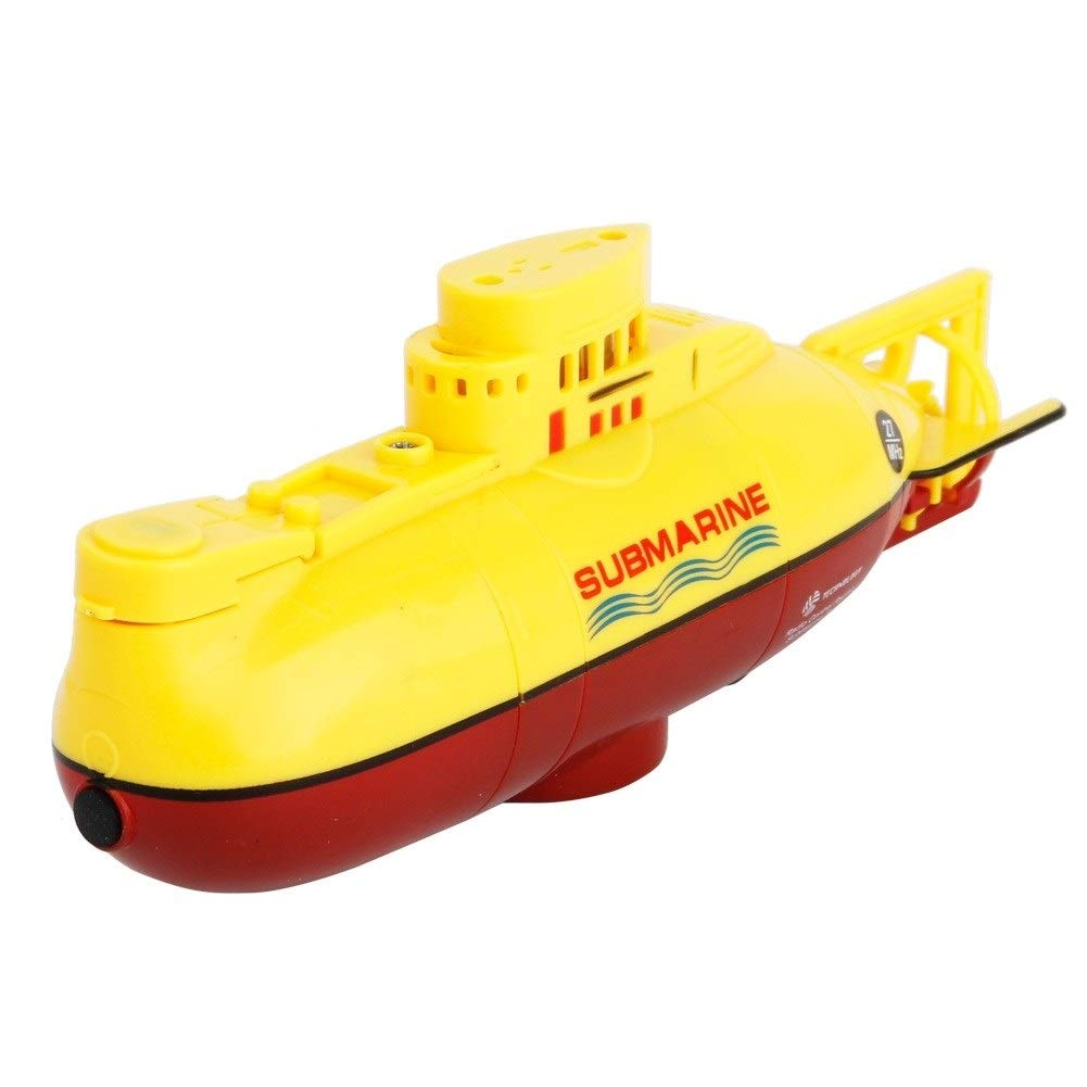 Woote Remote Control Boat Plastic Model Kids Mini RC Water Boat Toy Submarine Ship Electric Toy Waterproof Diving in Water Indoor Toys for Fish Tank Pools Kids Gift Waterproof ( Color : Yellow ) by Woote