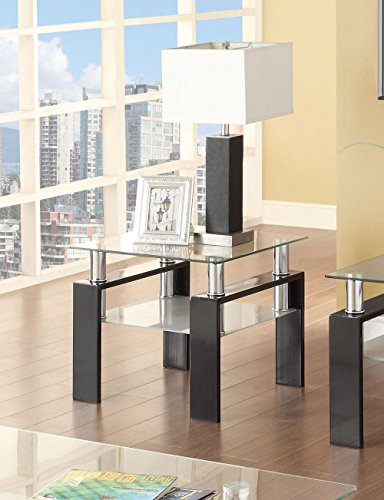 Coaster Glass Top End Table in Black ()