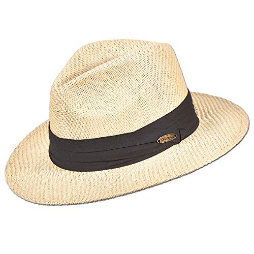 Panama Jack Matte Toyo Straw Safari Sun Hat with 3-Pleat Ribbon Band (Black Ribbon, Large/X-Large)