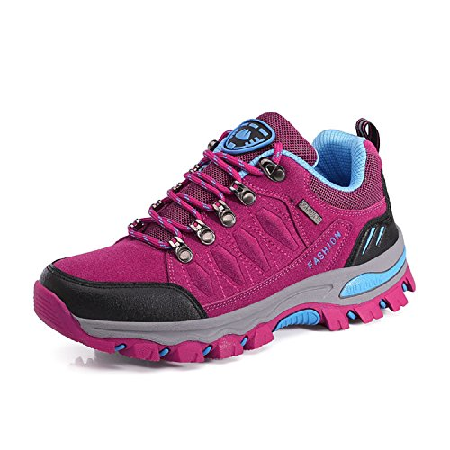 LILY999 Men's Women's Trekking and Hiking Shoes Low Rise Walking Climbing Trainers Lace-up Outdoor Sport Sneakers Pink wg5VU0z