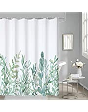 HiZZ Green Leaves Shower Curtain Watercolor Floral Plant Spring Botanical Waterproof Bathroom Curtains Fabric with 12 Hooks 72 X 72 Inches