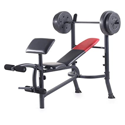 Amazon Com Home Gym Weight Bench With 80 Lbs Vinyl Weight
