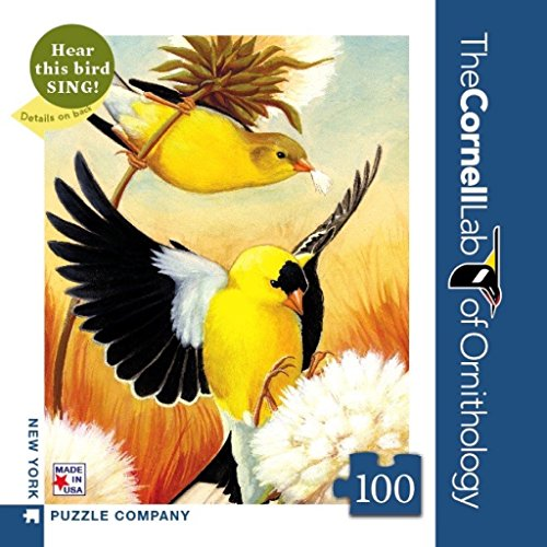 New York Puzzle Company - Cornell Lab American Goldfinch Mini - 100 Piece Jigsaw Puzzle