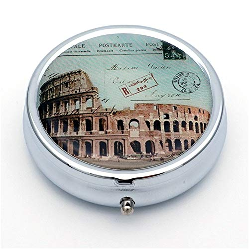 Art Pill Box with 3 Large Compartments 2 or 3 Times a Day AM PM Portable Travel Pill Organizer Round Silver Metal Pill Case Medicine Holder Container Jewelry Box for Purse Pocket (Rome) -
