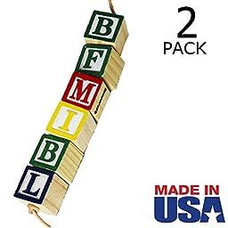 Alphabet Block Bird Foot Toy for Medium/Large Birds - MADE IN USA - 2-Pack by Beakaroos - Pionus Conure Quaker Ringneck African Grey Cockatoo Amazon Shredder - 1008 ABC Foot Toy