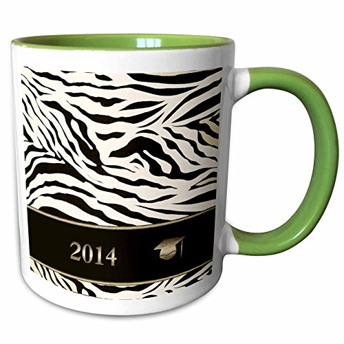 3dRose Beverly Turner Graduation Design - 2014 Zebra Print with Graduation Cap, Sepia, Gold, and Brown - 15oz Two-Tone Green Mug (mug_180906_12) (Zebra Invitation Graduation)