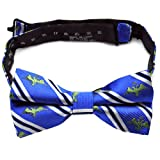 PenSee 100% Silk Mens Bow Tie Blue & Navy & White Animal Stripe Bow Ties