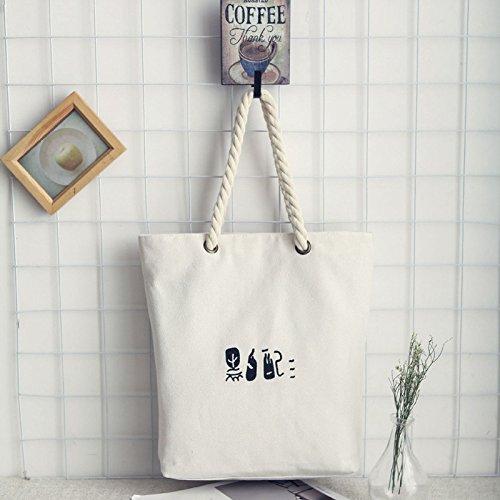 Reuseable Tote Environmental Shopping Summer Holiday Canvas Shoulder Shopping SHINA Beach Bag Blackwhite Protection Bag Ladies wzZq0xa