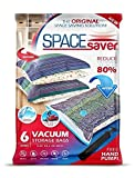 SpaceSaver Premium Reusable Vacuum Storage Bags (Jumbo 6 Pack), Save 80% More Storage Space. Double Zip Seal & Leak Valve, Travel Hand Pump Included.: more info
