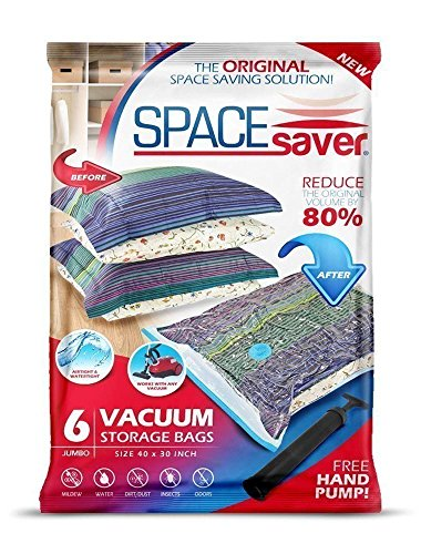 SpaceSaver Premium Reusable Vacuum Storage Bags (Jumbo 6 Pack), Save 80% More Storage Space. Double Zip Seal & Leak Valve, Travel Hand Pump Included. ()