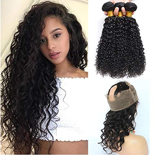 360 Lace Frontal With Brazilian Curly Hair 3 Bundles 7A Grade Kinky Curly Hair Bundles Virgin Human Hair Extensions With 360 Free Part Lace Frontal Closure (18 20 22+16, Natural Color)