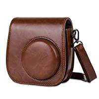 ALLCACA Retro Camera Case Protective Camera Case Bag PU Camera Bag Cover with Adjustable Strap and Small Pocket, Suitable for Fujifilm Instax Mini 8, Mini 8+, Mini 9, Brown