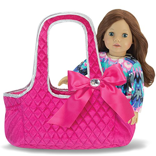 Sophia's 18 Inch Doll Tote Bag, Hot Pink Quilted Velour Doll Carrier, Tote