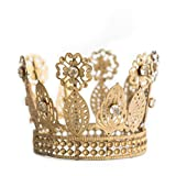 Gold Crown Cake Topper, Rhinestone Crown, Small Gold Wedding Cake Top, Princess Cake, The Queen of Crowns (Gold - Anne)