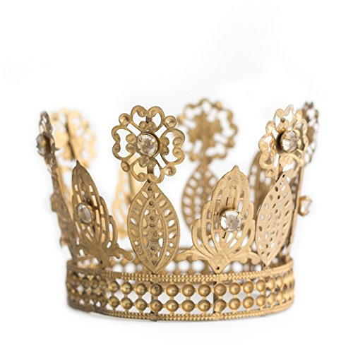 Gold Crown Cake Topper, Rhinestone Crown, Small Gold Wedding Cake Top, Princess Cake, The Queen of Crowns (Gold - Anne) Antique Wedding Cake Toppers