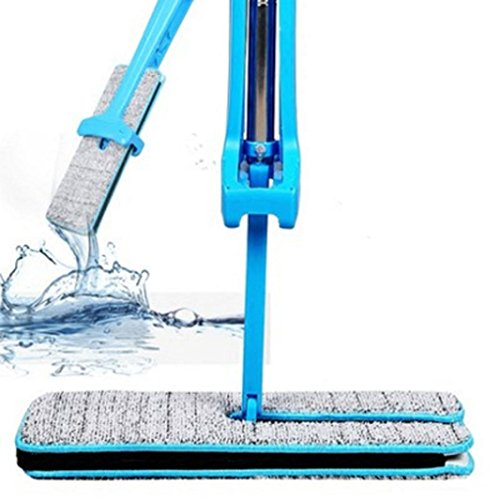 Double Side Flat Mop,Han Shi Technical Hands Free Washable Lazy Mop Home Cleaner Slippers (L, Blue)