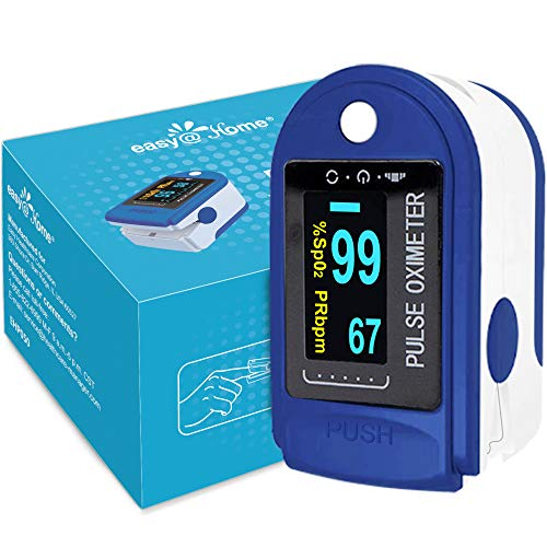 Easy@Home Fingertip Pulse Oximeter SpO2 Blood Oxygen Saturation Meter and Heart Rate Monitor, Rotatable OLED Display…