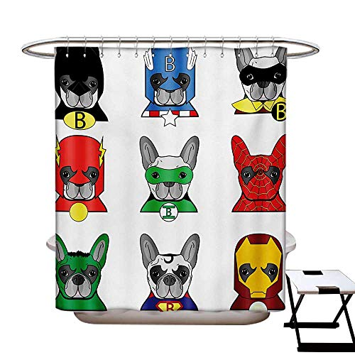 BlountDecor Superhero Shower Curtain Collection by Bulldog Superheroes Fun Cartoon Puppies in Disguise Costume Dogs with Masks Print Patterned Shower Curtain W36 x L72 Multicolor