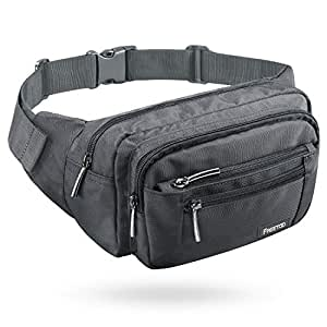 FREETOO Waist Pack Bag for Men/Women, Black Fanny Pack with Adjustable Strap for Outdoor Workout Traveling Casual Running Hiking Cycling (Grey)
