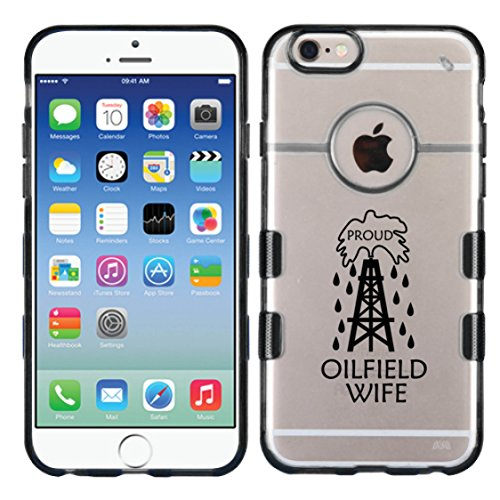 For iPhone 6 (4.7) Proud Oilfiled Wife Glassy Transparent Clear/Transparent Gummy Cover. (Black)