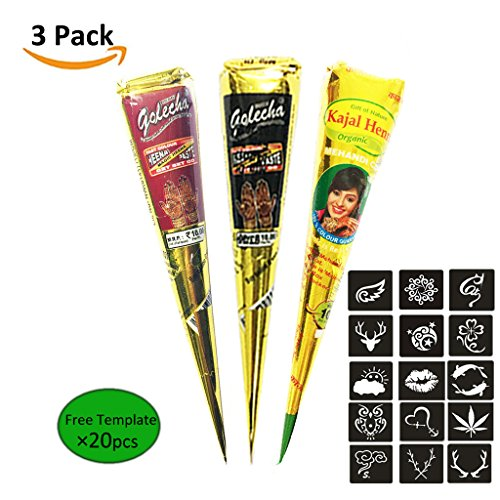 3Pcs India Henna Tattoo Kit, Kicpot Temporary Tattoo Paste Cone Body Art Painting Drawing with 20 pcs Free Henna Stencil Set,Black ,Brown,Red (3Pcs)