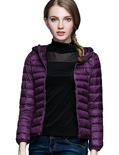 Purple Chick - CHERRY CHICK Women's Ultralight Packable Down Jacket with Hood (Small, Dark Violet)