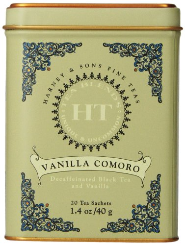 Harney & Sons Vanilla Comoro Tea Tin - Decaffeinated and High Quality, Great Present Idea - 20 Sachets, 1.4 Ounces