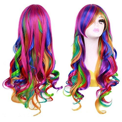BERON 27.5 Women Girl`s Long Curly Wavy Rainbow Wig for Halloween Anime Cosplay(Multi-color)