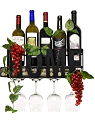 Gift Boutique Home Metal Wall Mounted Wine Rack and Glass Holder with Cork Storage Decorative Kitchen Hanging Bottle Glasses Shelf Stemware for Living Room Decor