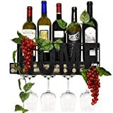 Home Metal Wall Mounted Wine Rack and Glass Holder with Cork Storage Decorative Kitchen Hanging Bottle Glasses Shelf Stemware for Living Room Decor by Gift Boutiqe
