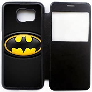 Wunatin Ultra Thin Windows View Flip Leather Case Cover For Samsung Galaxy S6,Batman Logo Samsung Galaxy S6 Cell Phone Case,BA-7758973