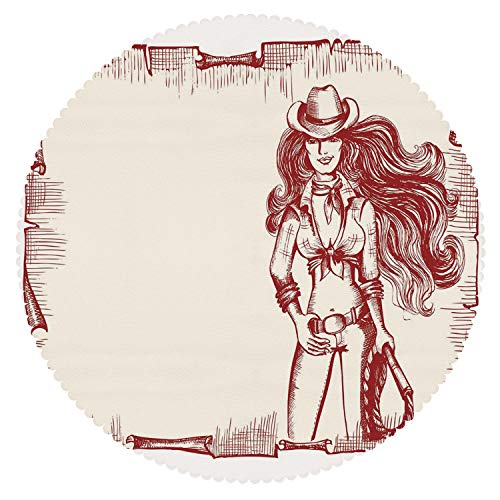 iPrint Round Tablecloth [ Western,Sexy Young Cowgirl with Lasso Old Paper Style Background Hairstyle Vintage Frame,Ruby White ] Fabric Home Tablecloth Design ()