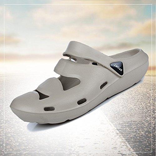 Gracosy Mesh Zoccoli Spiaggia Casual Mule Immersione Traspirante Comfort Da Out Hollow Antiscivolo Collisione Scarpe Grigio Anti Basse Slip Uomo Slippers On 6xwqr6X