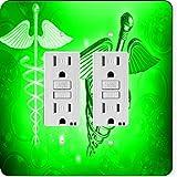 Rikki Knight 8866 Gfidouble Green Medical Doctor Symbol Design Light Switch Plate