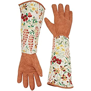 Superior Leather Rose Gardening Gloves Thorn Proof Pruning Gloves With Long  Polyester Print Cuff To Protect Your