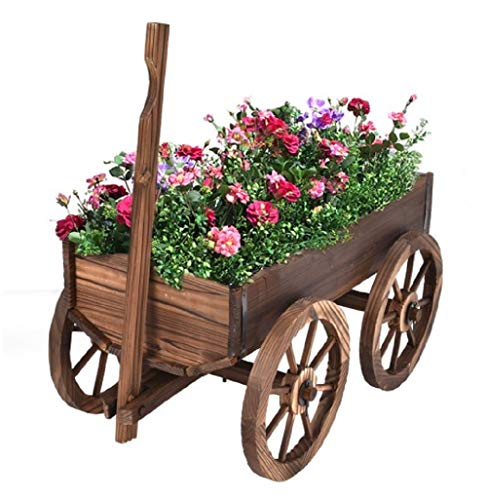 Brazen-X Wood Wagon Cart Pot Stand Flower Planter with Wheels Home and Garden Patio Country Style Decor Outdoor Backyard Plant Display