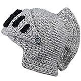 ALL IN ONE CART Creative Original Barbarian Knit Hair Beard Hat and Roman Knight Helmet Visor Cosplay Knit Beanie Hat (Roman grey)