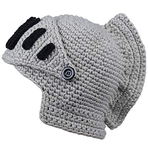 ALL IN ONE CART Creative Original Barbarian Knit Hair Beard Hat and Roman Knight Helmet Visor Cosplay Knit Beanie Hat (Roman grey) -