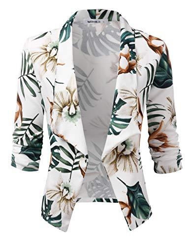 CLOVERY Women's 3/4 Sleeve Casual Basic Work Office CardiganTuxedo Blazer IVORYGREEN S ()