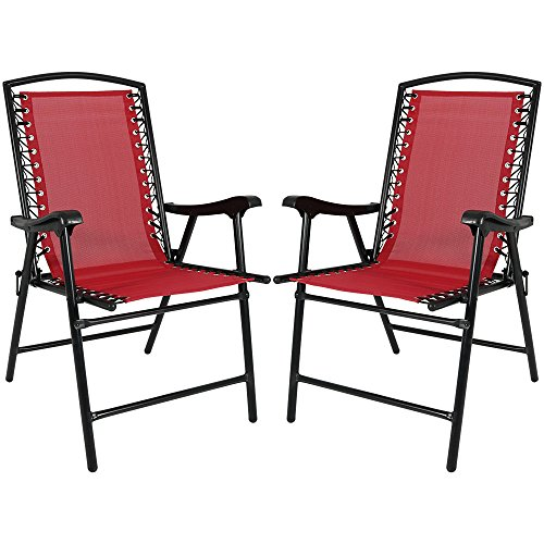 Sunnydaze Folding Suspension Outdoor Lounge Chair, Set of 2 Mesh Lawn Chairs, Red