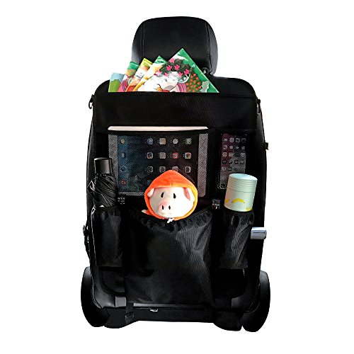 Car Seat Organizer ANRUI Multipurpose Use as Auto Seat Back Protector Kick Mat Car Organize Eco Friendly Materials Children Toys Storage Lots of Pockets Storage Bottles Tissue Box - Sunglasses Organize