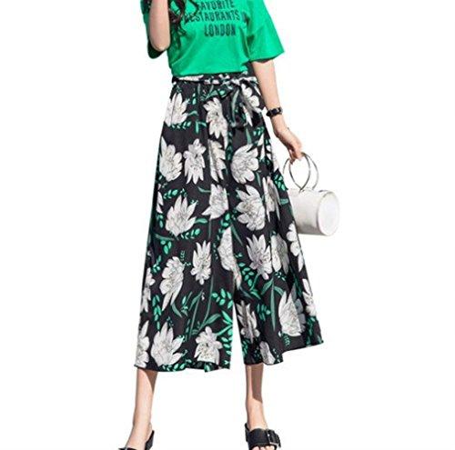 Tempo Libero HaiDean Estivi Glamorous Donna Gamba Pantaloni Moda Semplice Pantaloni Pantaloni Stampate Pantaloni Chiffon Accogliente High Larga Sciolto 9 Boho Leggero Mare Eleganti Colour Waist Palazzo Cqrf1wxCB
