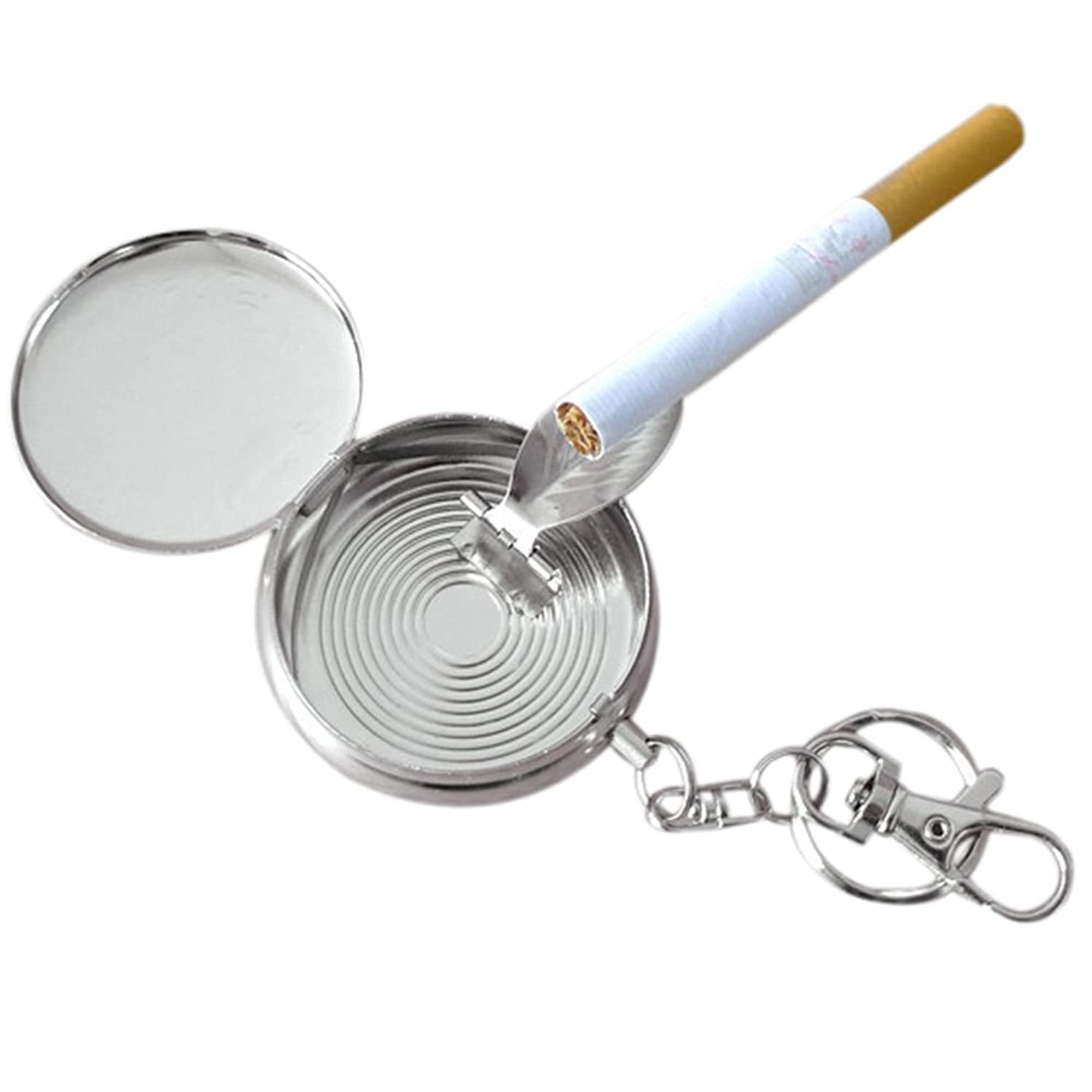 Shuohu Mini Size Stainless Steel Round Cigarette Ashtray with Keychain