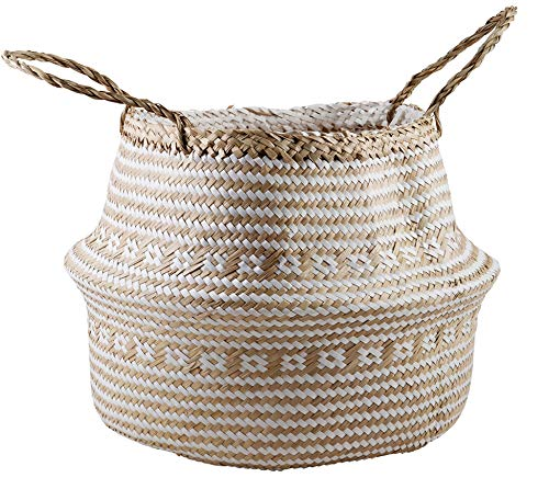 - VNCraft Plush Cross White Color Seagrass Tote Belly Basket Storage, Laundry, Picnic, Plant Pot Cover Beach Bag (12x12x14 inches)