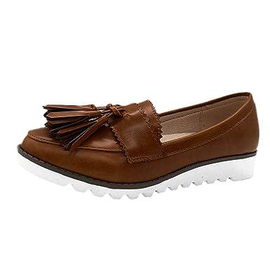 Yvelands Rutup Retro Mujeres liquidación Cabeza Redonda Pisos Boca Baja Plataforma Mocasines Guisantes Zapatos de Barco: Amazon.es: Ropa y accesorios